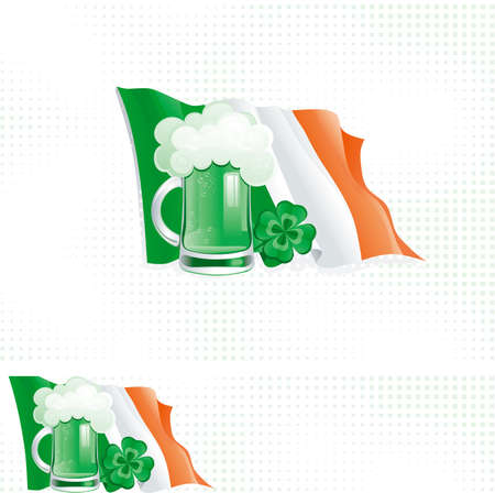 Background and banner for St  Patrick s Day  background and banner of irish flag, cup with green beer and clover for St  Patrick s Day Stock Vector - 17490593