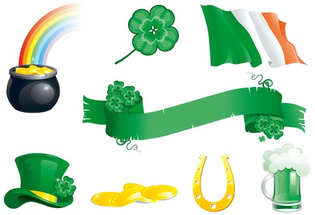 cons: Set of cons for St  Patrick s Day  green hat, beer, clover, horseshoe, ireland flag, banner,  leprechaun s pot with gold coins