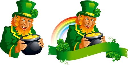 Leprechaun  lucky leprechauns with pot and  banner for St  Patrick s Day,  Vector
