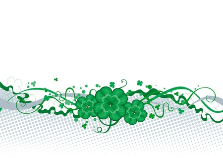 four leafs clover: Clover borber  abstract  St  Patrick s Day border with clover  Illustration