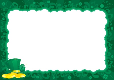 good s: Border  for St  Patrick s Day   ornate  frame with leprechaun s hat, gold coins and clover leaves  Illustration