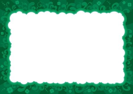 st  patrick's day: Border  for St  Patrick s Day   ornate  frame with  clover leaves   Illustration