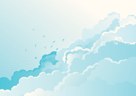 cloud background: Birds in the cloudy sky  Vector blue  background with flying Swallows on cloudy sky  Illustration