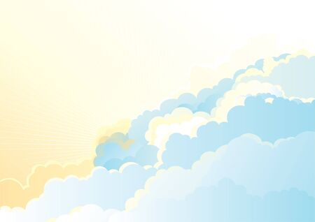 Sunrise in the cloudy sky  Vector color horizontal background of cloudy sky Stock Vector - 17712059