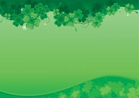 four leafs clover: Antecedentes para el fondo St Patrick s Day Vector adornado con las hojas del tr�bol con el lugar para el texto