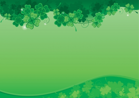 patrick banner: Background  for St  Patrick s Day  Vector ornate  background with  clover leaves with place for text