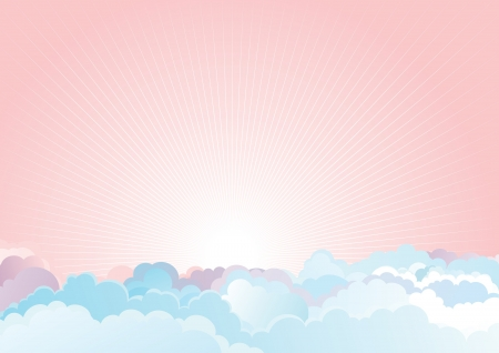 unrise in the cloudy sky  Vector color horizontal background of cloudy sky Stock Vector - 17767153