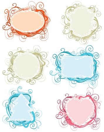 Ornate frames  Set of vector ornate color frames for holiday card Stock Vector - 17712056