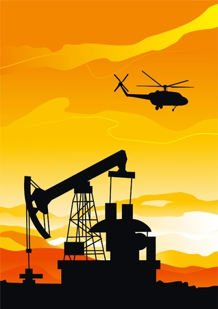 borehole: Pumpjack and helicopter  Vector background of pumpjack and helicopter silhouettes on orange sky