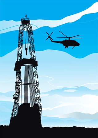 petroleum blue: Drilling rig and helicopter  Vector background of drilling rig and helicopter silhouettes on blue sky