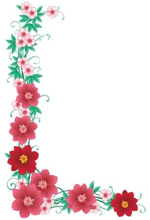 esquineros de flores: Esquina frontera floral decorativo con muchas flores de color rosa y hojas verdes Vectores