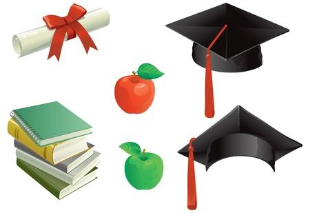 birrete: Educación y de las Juntas de mortero, libros, Aples y Diploma