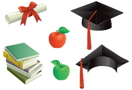 Education   et of Mortar Boards, books, aples and Diploma   Vector