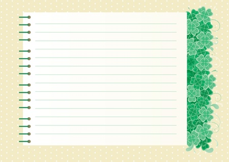 Clover background with copy space abstract  St  Patrick s Day background with clover leaves and page of  spiral notebook Vector