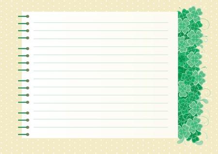 four leafs clover: Tr�bol de fondo con copia espacio fondo abstracto D�a de San Patricio s con hojas de tr�bol y la p�gina de cuaderno de espiral