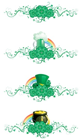 Clover borbers  borders of clover, pot with gold coins,  horseshoe, leprechaun hat, cup of green beer and ornate elements for St  Patrick s Day  Vector