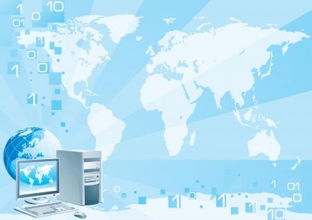 internet business: Digital world - Europe  Illustration