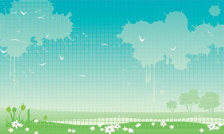 Spring  Vector illustration with spring  horizontal Landscape at grunge style Stock Vector - 18117227