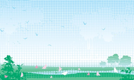 Summer  Vector illustration with summer horizontal Landscape  at grunge style  Stock Vector - 18117233