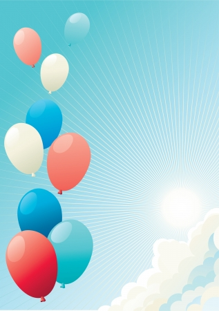 white clouds: Holiday balloons  Vector illustration of many color  balloons on blue sky with clouds,  sun and sun beams