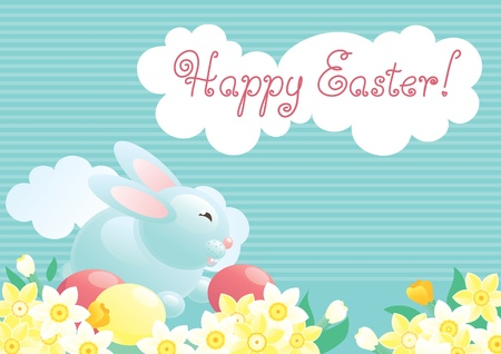 Easter bunny  Cute easter bunny  and eggs on  green grass with many spring flowers   Vector
