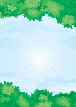 Summer sky  Background with green forest on summer sky Vector