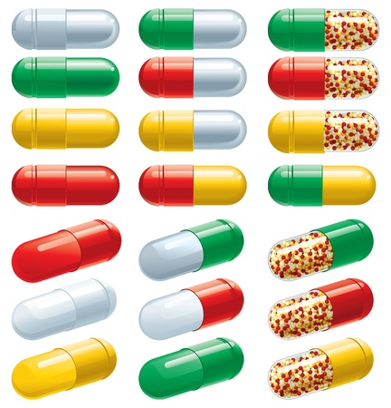 group therapy: set of many color Pharmaceutical capsules Illustration