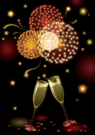 Holiday fireworks holiday background with two Champagne Flutes Vector