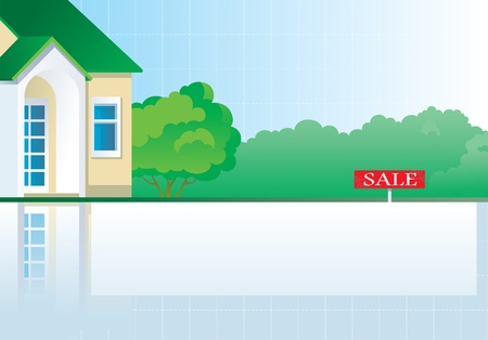 Real estate illustration of the house, green bushes and tree Vector