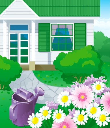 home gardening: Country house with garden