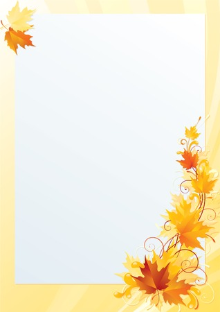 autumn background: Maple frame.  Abstract ornate background with red, yellow and orange maple leaves