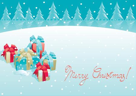 Regalos de Navidad - cajas de regalo con arco sobre fondo de invierno