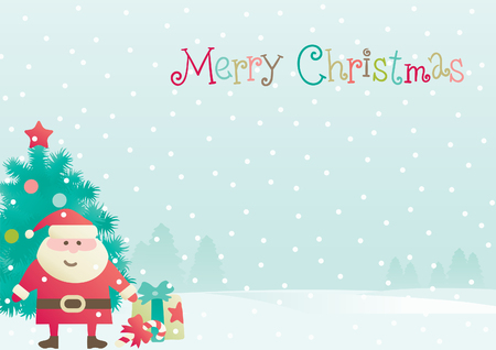 Santa Claus   Vector background of  Santa, fir tree and  christmas present at winter landscape  with snowflakes   Vector