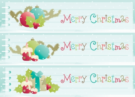 Christmas decorations  Vector banners of christmas decorations on background with empty blank and winter snow landscape Vector