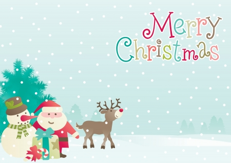 Merry christmas  Vector background of  Santa, snowman, Reindeer, fir tree and  christmas present at winter landscape Vector