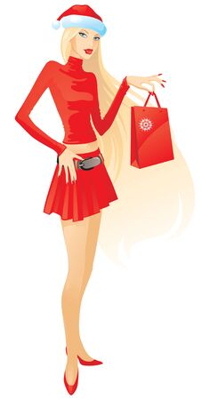 Christmas Shopping  Vector illustration of beautiful younger woman in hat santa and red suit  She keep package     Illustration
