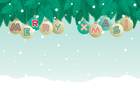 Marry christmas   Christmas baubles  with  Marry xmas , fir tree and snowflakes   Vector
