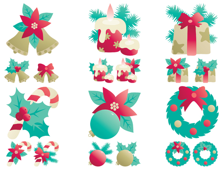 Christmas decorations  Vector icons set  of Christmas decorations  Vector