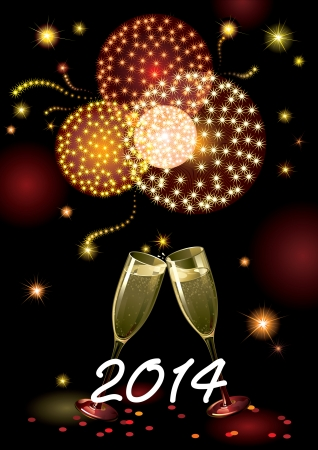 Happy new year 2014  Vector holiday background with two Champagne Flutes, many stars, fireworks on night dark sky and text 2014 Illustration