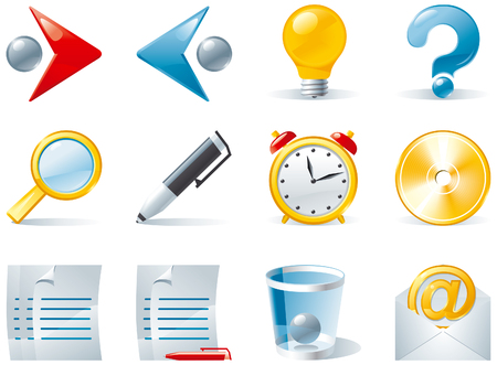 embedding: Set 1of color computer icons  Vector of computer icons for web design isolated on white background Illustration