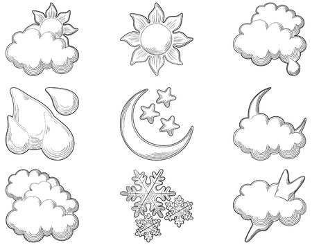 engraved image: Weather icons  at engraving style  Set of vector computer icons for weather