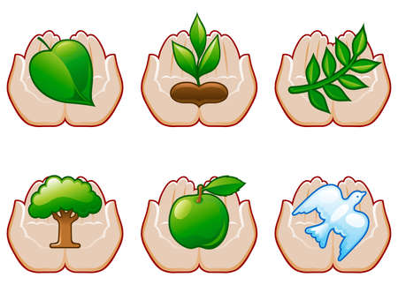 Environment set 6  Set of environment conservation icons with human hands