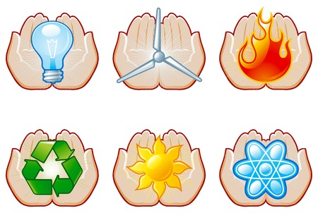 environmentally: Environment set 7  Vector set of energy icons with human hands
