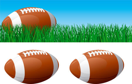 american football background: American football  Vector banner of American football ball on green grass  American football ball isolated on white background