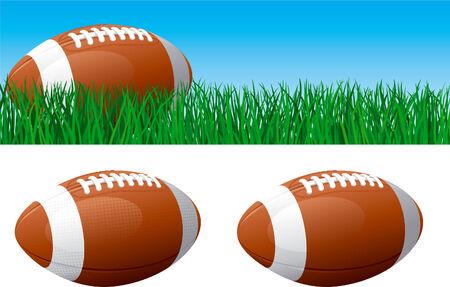 bannière football: Le football américain Vector bannière de ballon de football américain sur l'herbe verte ballon de football américain isolé sur fond blanc Illustration