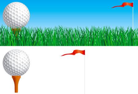 golf drapeau: Golf set Vector banni�re de balle de golf et le drapeau sur l'herbe verte et balle de golf et le drapeau isol� sur fond blanc
