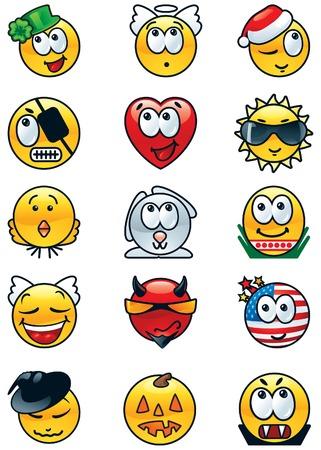 affable: Set of festive avatars  Vector set of many  festive avatars and human emotions