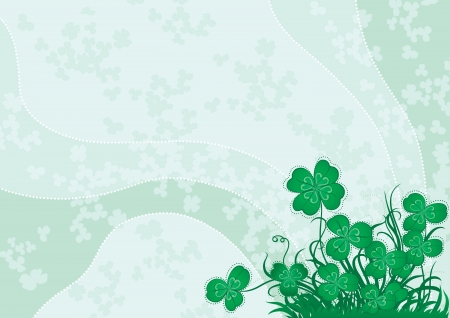 Green clover  Vector background with green clover for St  Patrick s Day Vector