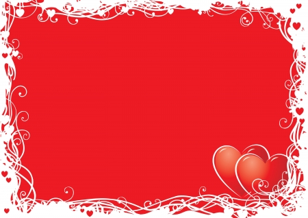 vector hearts: Valentines  background  Vector  background  with ornate border and two hearts