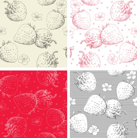 Strawberry seamless pattern backgrounds  Vector backgrounds with strawberry berries and flowers at engraving style Stock Vector - 25327711